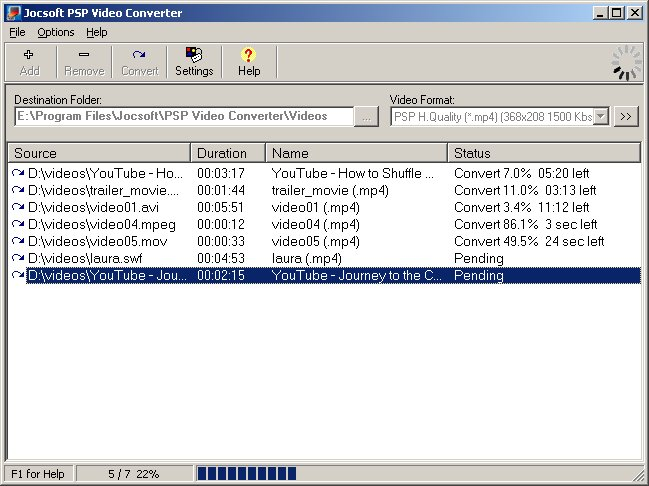 Jocsoft PSP Video Converter screenshot