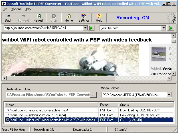 Click to view Jocsoft YouTube to PSP Converter 1.5.0.2 screenshot